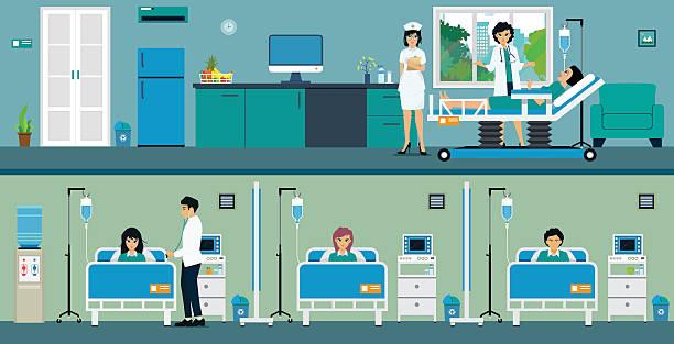 bildbanksillustrationer, clip art samt tecknat material och ikoner med patient room - sjukhusavdelning