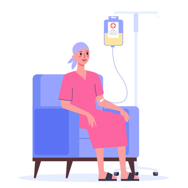 Patient suffer from cancer disease. Female character oncology patient Patient suffer from cancer disease. Female character oncology patient with a dropper getting a chemo. Idea of healthcare, oncology illness and medicine treatment. Vector illustration in cartoon style cancer patient stock illustrations