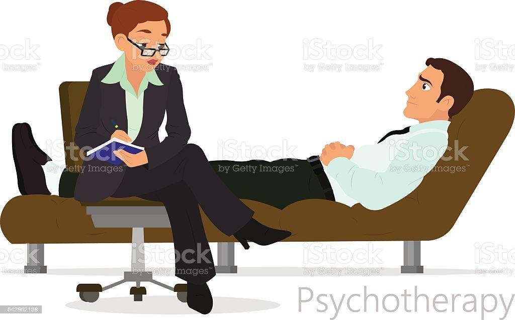 Patient talking to psychologist vector art illustration