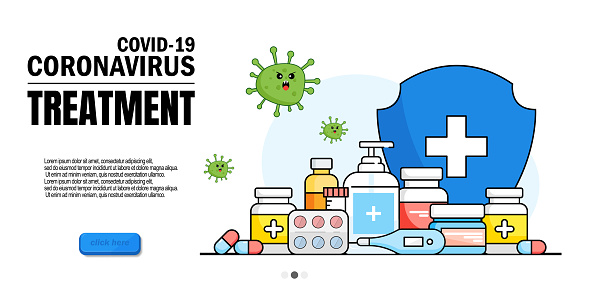 Patient test for coronavirus. Cough, shortness of breath, hospital treatment. Coronavirus treatment, early diagnosis of NCOV-19, medication for human coronavirus. Website homepage landing page templat