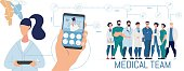 Patient Using Mobile App for Online Diagnostics. Flat Human Hand Holding Smartphone with Open Chat for Professional Checkup. Cartoon Medical Team. Woman with Tablet. Vector Illustration