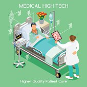 High Tech Healthcare Patient Disease Fast Diagnosis Hospitalization at Medical Clinic Hospital. Elderly Patient Bed with Doctor Medical Staff. NEW bright palette 3D Flat Vector People Collection