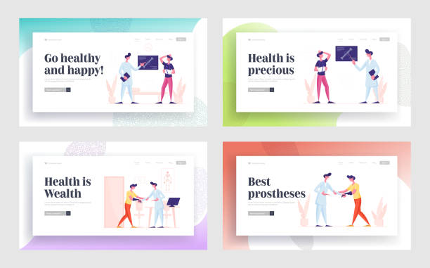 患者訪問診所或醫院治療和醫療支援網站登陸頁面集。市民到醫院預約及康樂 網頁橫幅 卡通平面向量插圖 - 健康科技 幅插畫檔、美工圖案、卡通及圖標