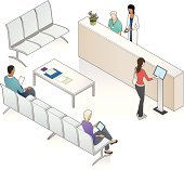 Patients and medical professionals in a waiting area, including a touch-screen check-in kiosk.