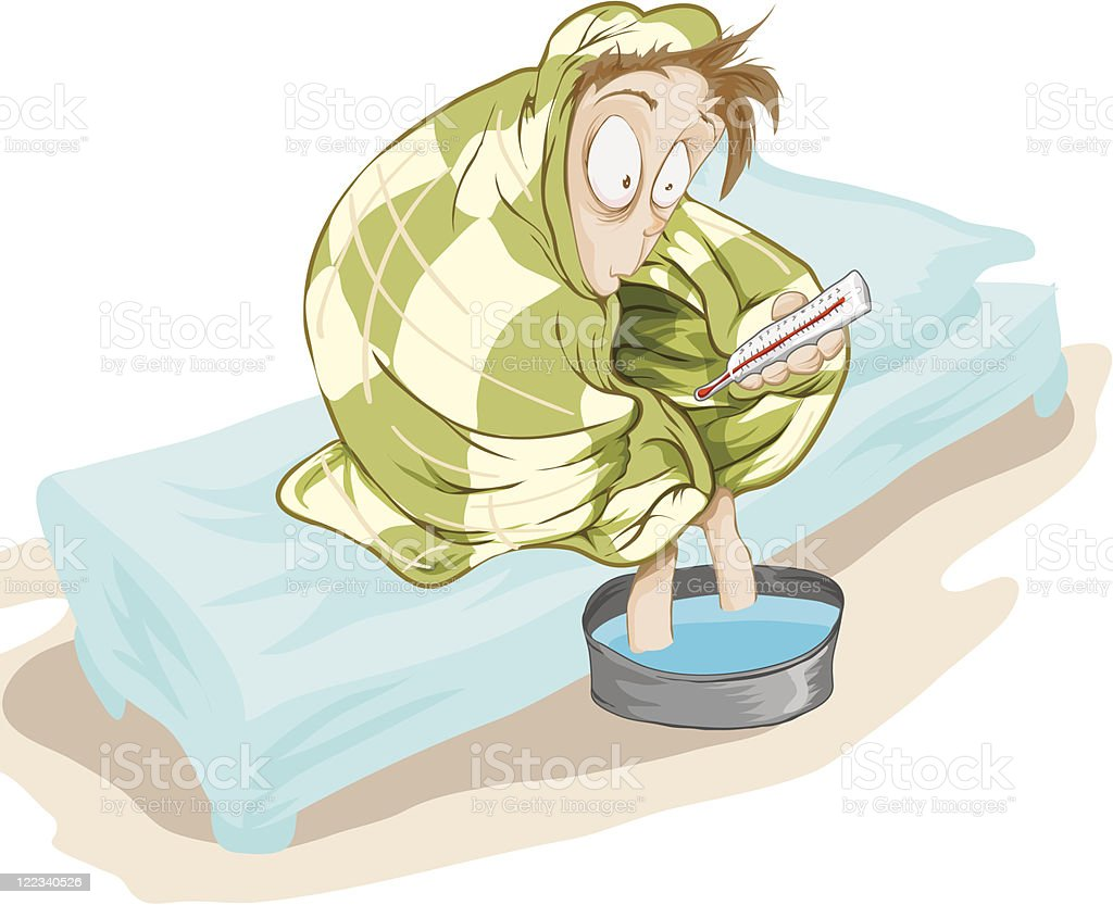 Patient with a temperature royalty-free stock vector art