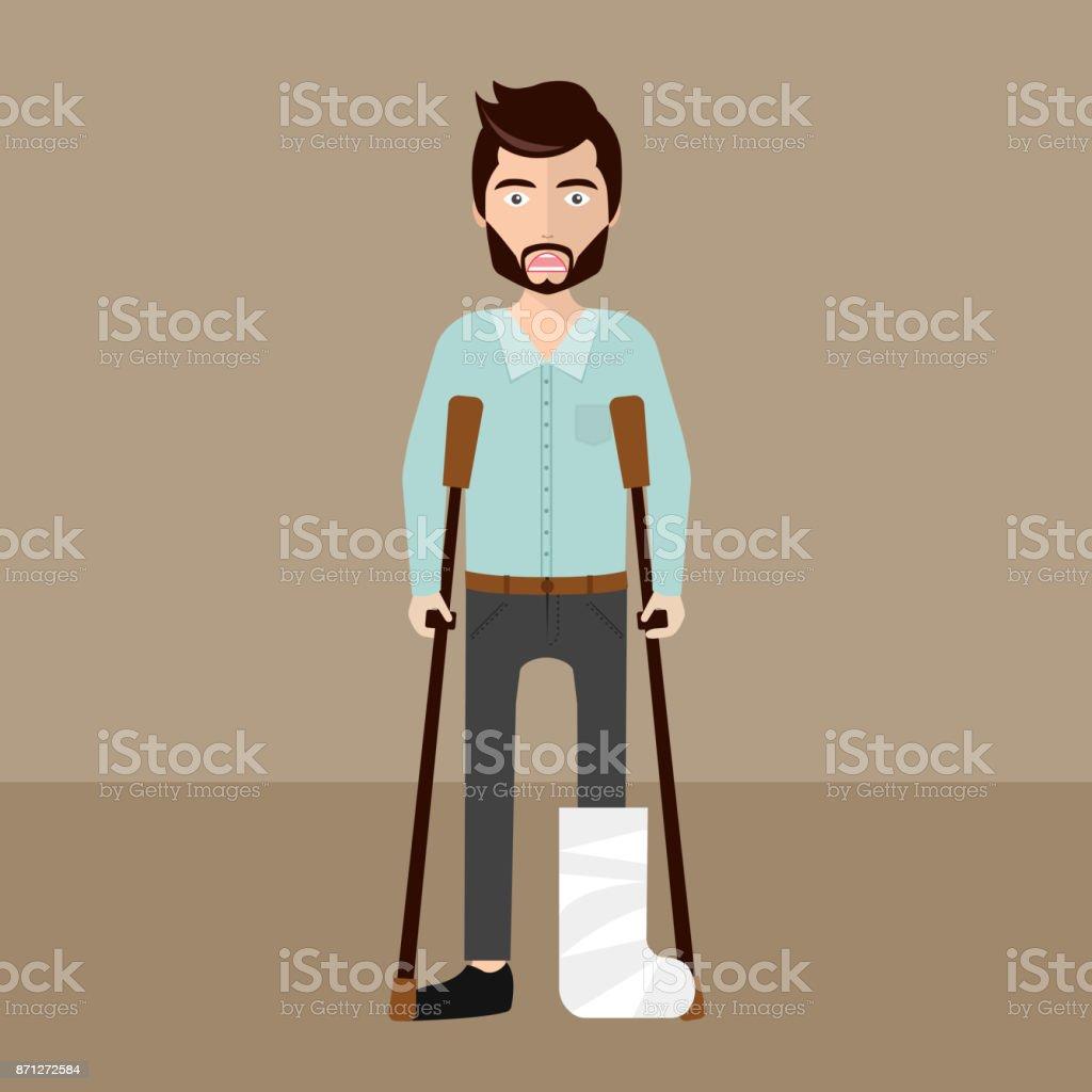 Patient with broken leg. Flat vector illustration vector art illustration