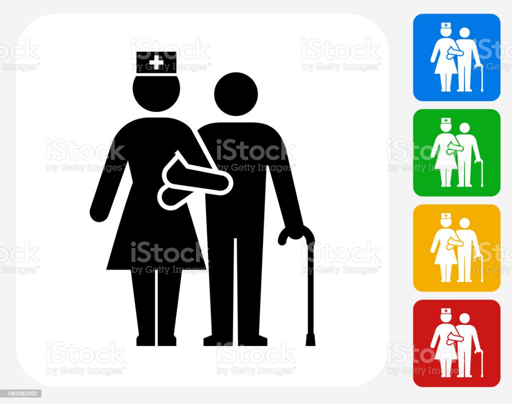Patient with Female Nurse Icon Flat Graphic Design vector art illustration