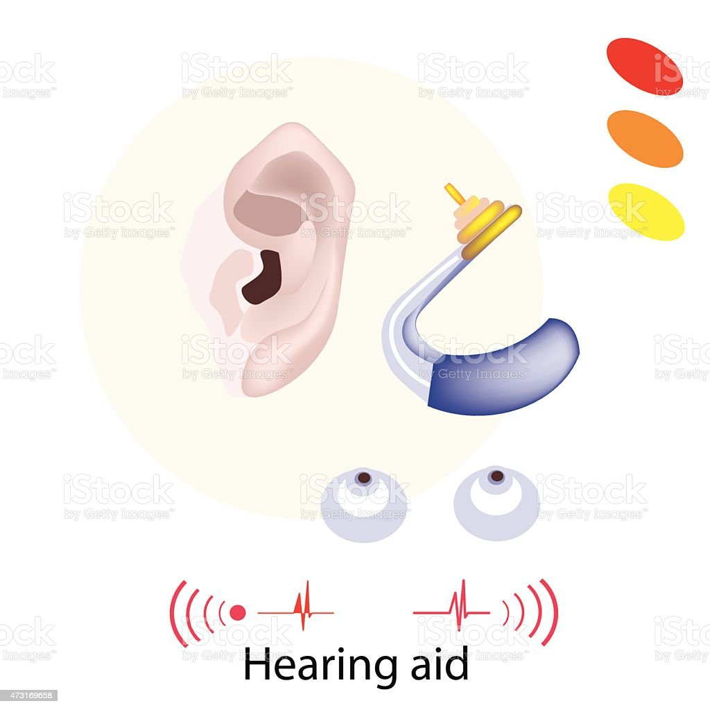 Patient with Hearing Aid on White Background vector art illustration
