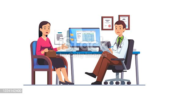istock Patient woman talking to primary care physician man at hospital office. Clinic appointment meeting with doctor, having conversation with medic about checkup results. Flat vector illustration 1224142400
