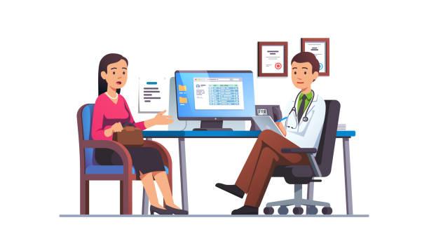 bildbanksillustrationer, clip art samt tecknat material och ikoner med patient kvinna pratar med primärvården läkare man på sjukhus kontor. klinik möte med läkare, med samtal med sjukvårdare om kontroll resultat. platt vektorillustration - allmänläkare