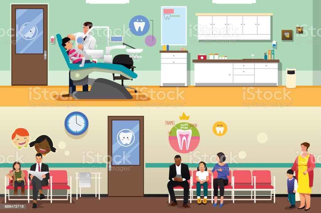 Patients and Dentist at Dental Office Illustration vector art illustration