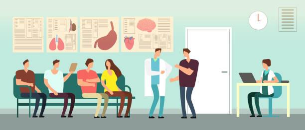 patienten und arzt im krankenhaus wartezimmer. menschen mit behinderungen bei ärzten. im gesundheitswesen vektor-konzept - rezeptionseingang stock-grafiken, -clipart, -cartoons und -symbole