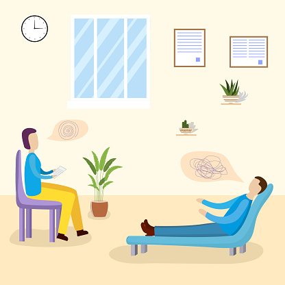 Patients at a reception at the psychotherapies. Man talking to psychotherapist or psychologist and answer questions.