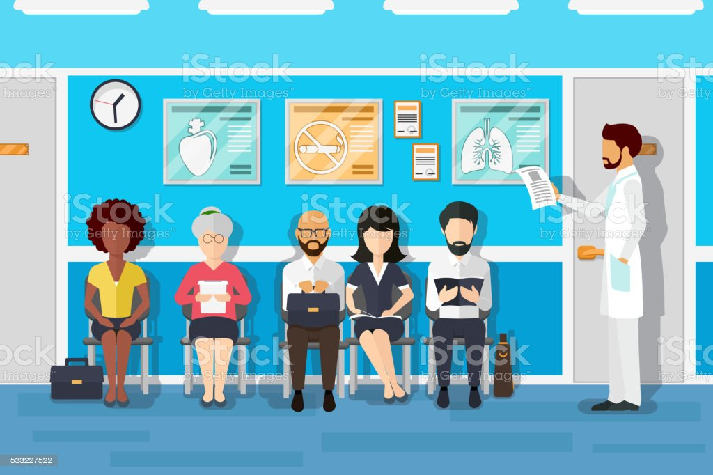 Patients in doctors waiting room vector art illustration
