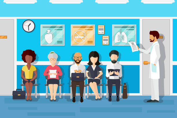 patients in doctors waiting room - receptionist stock illustrations, clip art, cartoons, & icons