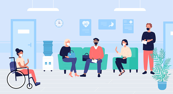 Patients people in doctors waiting room vector illustration, cartoon flat woman man characters in masks sit and wait for doctoral appointment in hospital hall interior