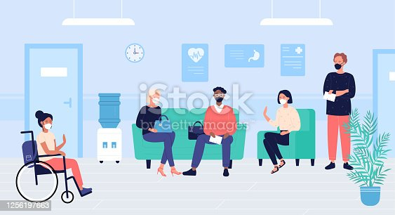 istock Patients people in doctors waiting room vector illustration, cartoon flat woman man characters in masks sit and wait for doctoral appointment in hospital hall interior 1256197663