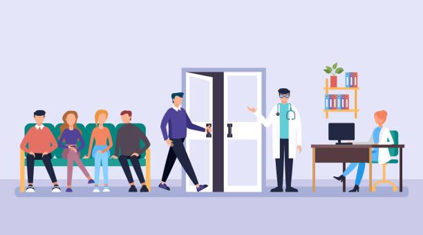 ilustrações, clipart, desenhos animados e ícones de pacientes pessoas esperando por médico na linha. conceito da clínica do auxílio da medicina do escritório do doutor. ilustração lisa do projeto gráfico dos desenhos animados do vetor - esperar