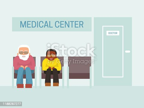 istock Patients waiting doctor in medical center vector illustration. P 1188267277