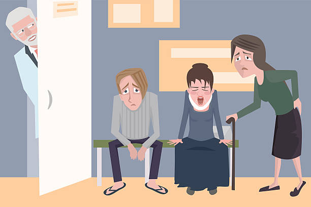 patients waiting for the doctor, funny vector cartoon - old man clipart stock illustrations, clip art, cartoons, & icons