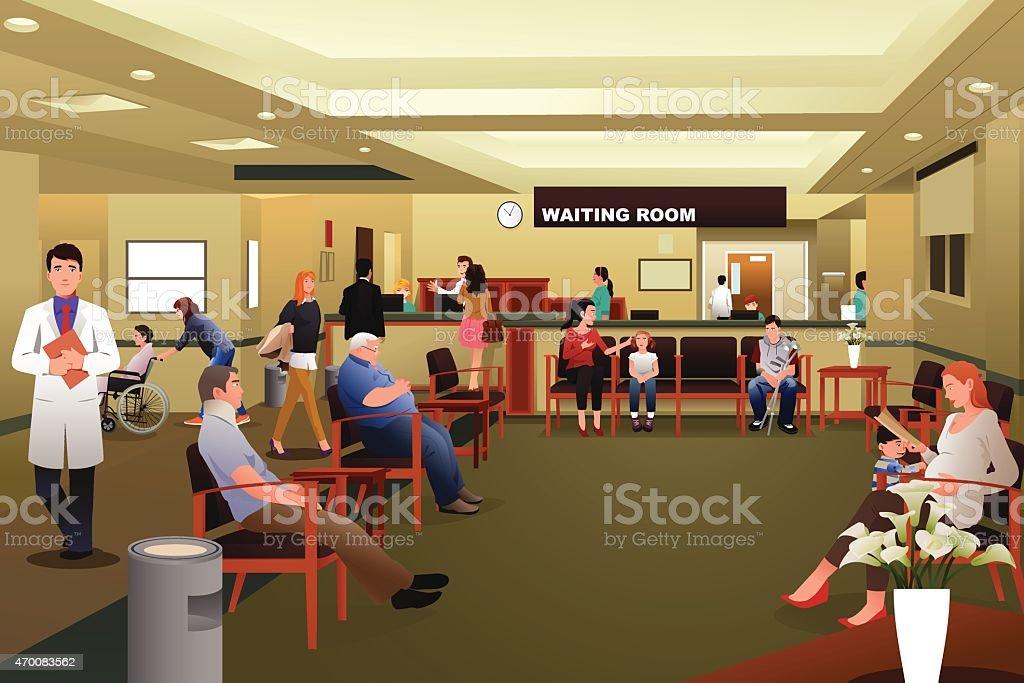 Pacientes esperando en la sala de espera del hospital - ilustración de arte vectorial