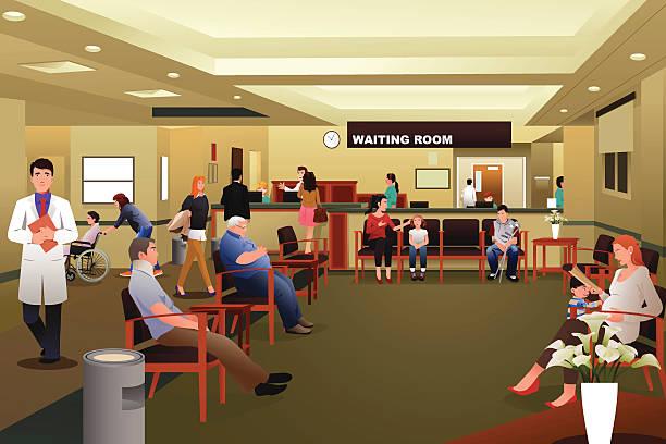 ilustraciones, imágenes clip art, dibujos animados e iconos de stock de pacientes esperando en la sala de espera del hospital - recepcionista