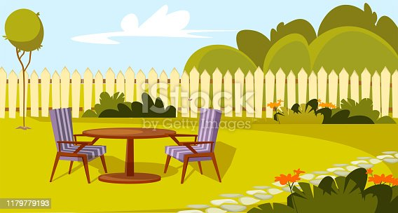 Patio area flat vector illustration. House backyard with green grass lawn, trees and bushes. Cartoon table and chairs garden modern furniture. Outdoor furnished yard for BBQ summer parties