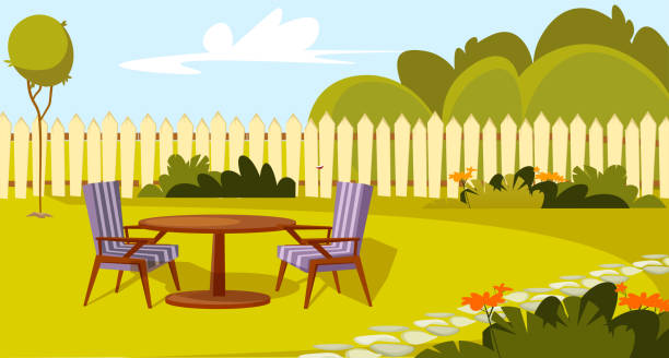 stockillustraties, clipart, cartoons en iconen met patio gebied plat vector illustratie - garden house