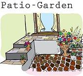 patio garden cartoon vector character