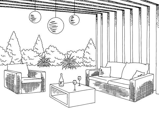 patio garden graphic black white sketch illustration vector - gartensofa stock-grafiken, -clipart, -cartoons und -symbole