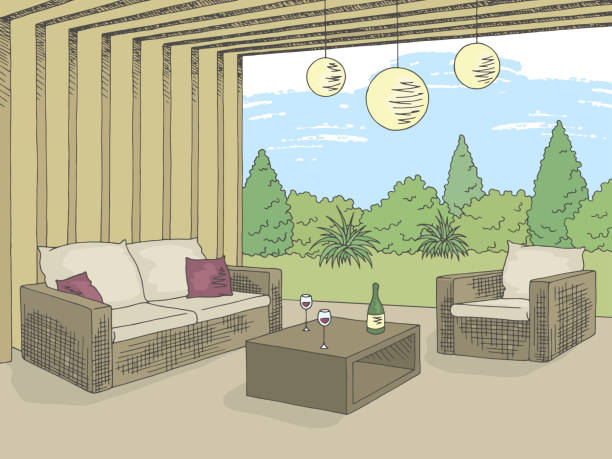 terrasse garten grafik farbe innen skizze abbildung vektor - gartensofa stock-grafiken, -clipart, -cartoons und -symbole
