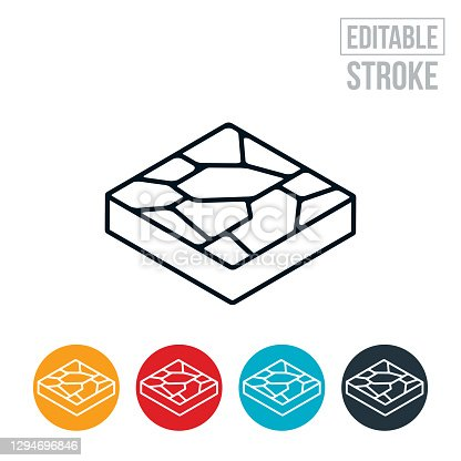 An icon of stonework used as patio pavers. The icon includes editable strokes or outlines using the EPS vector file.