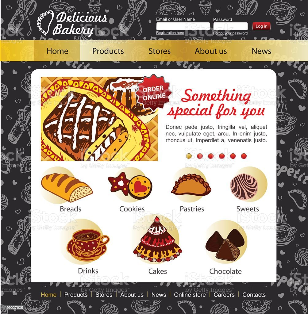 Patisserie And Bakery Website Template On The Blackboard Stock ...
