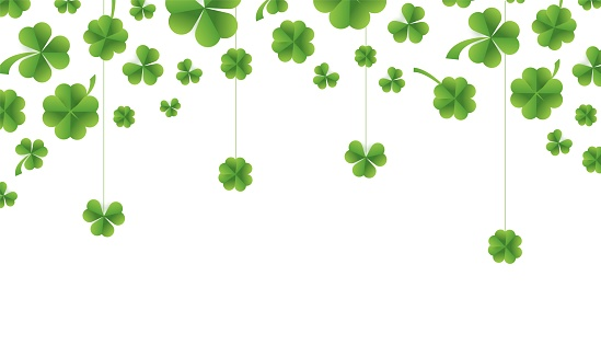 Patrick day background with vector four-leaf clover pattern background. Vector green grass clover pattern background