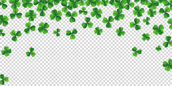Patrick day background with vector four-leaf clover pattern background. Lucky four leaf clover green background for Irish beer festival St Patrick's day. Vector green grass clover pattern background