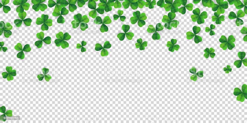 四葉のクローバー パターンのベクトルの背景とパトリックの日背景。アイルランドのビール祭聖パトリックの日のため四つ葉クローバー緑のラッキー バック グラウンド。緑の草のクローバー パターンのベクトルの背景 ベクターアートイラスト