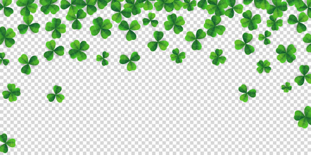 Patrick day background with vector four-leaf clover pattern background. Lucky four leaf clover green background for Irish beer festival St Patrick's day. Vector green grass clover pattern background vector art illustration