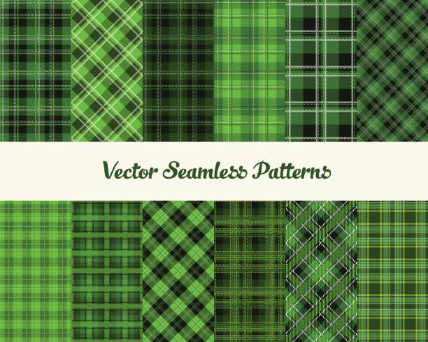 patrick day patterns - flannel backgrounds stock illustrations, clip art, cartoons, & icons