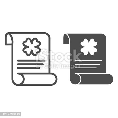 istock Patrick holiday announcement line and solid icon. Paper sheet with clover outline style pictogram on white background. Patrick day festive flyer for mobile concept and web design. Vector graphics. 1217590119