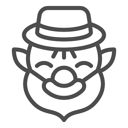 Patrick with beard line icon. Leprechaun avatar outline style pictogram on white background. Old dwarf for mobile concept and web design. Vector graphics.