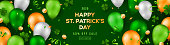 Saint Patrick's Day horizontal banner with irish colored balloons on green background. Confetti, clover and golden coins. Place for text. Vector illustration.
