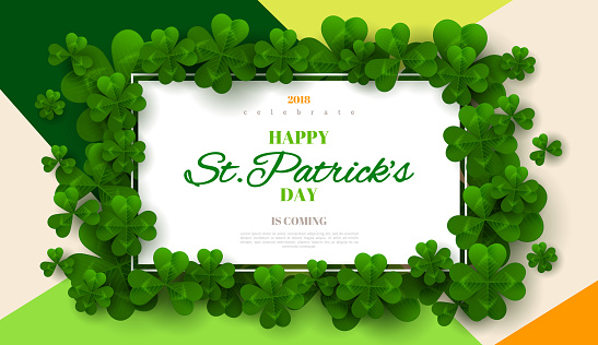 Patrick's Day card with rectangular frame
