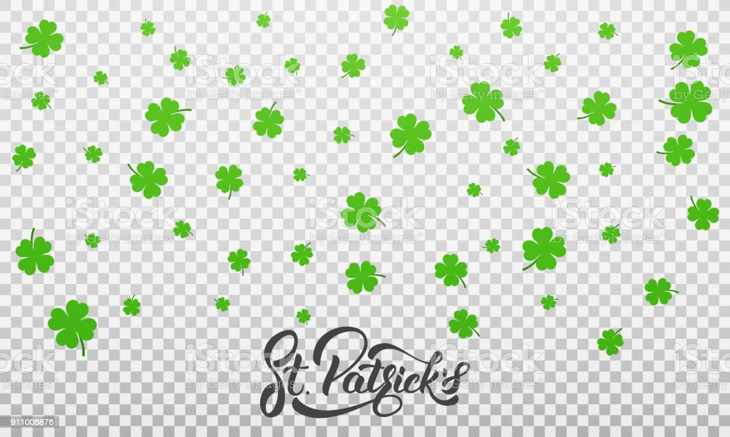 Patrick's Day. Clover shamrock leaves background and St. Patrick's lettering. St. Patricks Day background vector art illustration