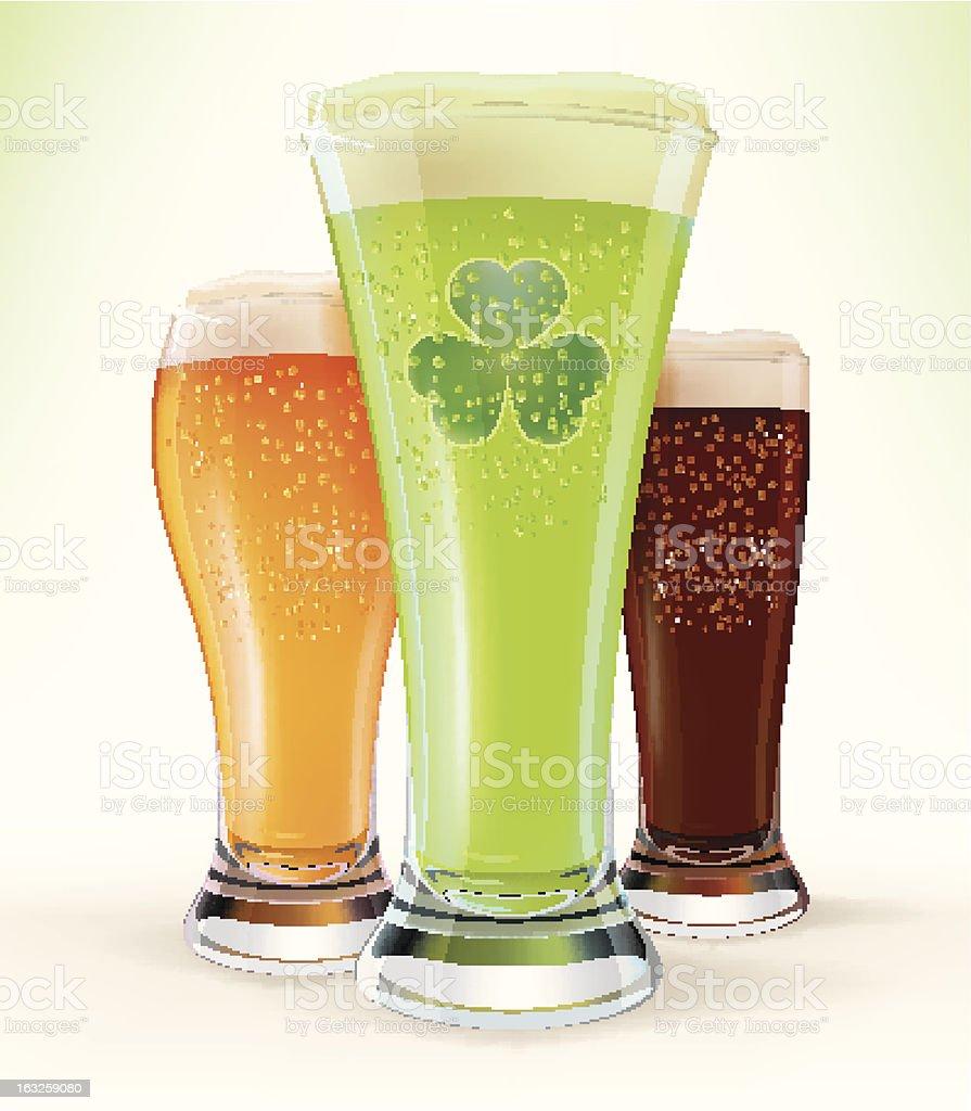 Patrick's Day: Glasses of Beer vector art illustration