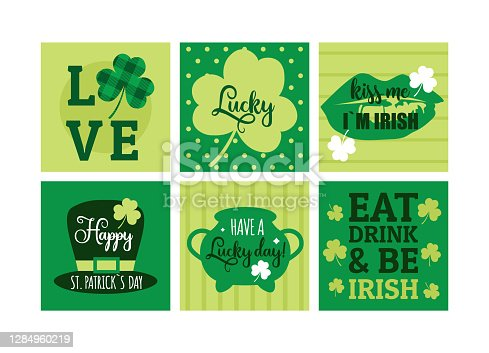 Patricks day greeting cards. Cute funny simple banners. Vector