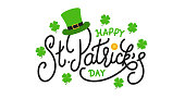 Patricks Day. Happy St. Patrick's Day vector lettering label with leprechaun hat, gold coin and clover leaves
