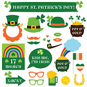 Patricks Day vector isolated design elements and photo booth props set