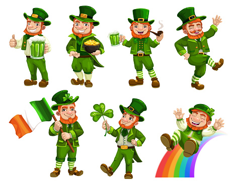 Patricks day leprechauns with beer, flag, clover