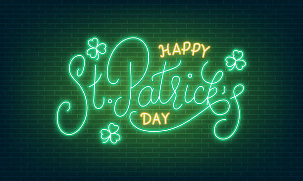 Patricks Day. Neon glowing lettering sign of Happy St. Patrick's Day lettering and clover leaves Patricks Day. Neon glowing lettering sign of Happy St. Patrick's Day lettering and clover leaves. temperate flower stock illustrations