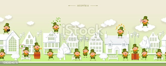 St. Patricks Day, seamless border with funny leprechauns on the background of the street of white houses, paper cut, vector horizontal pattern